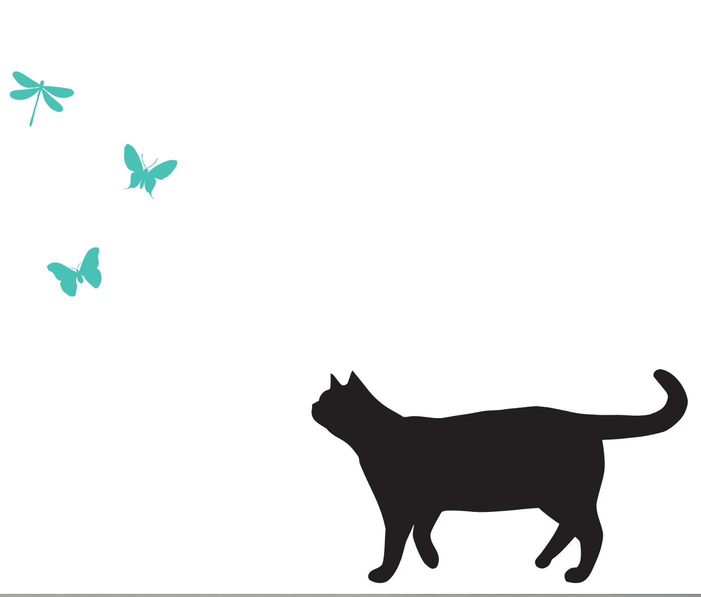 Katze Libellen und Schmetterlinge Wandtattoos