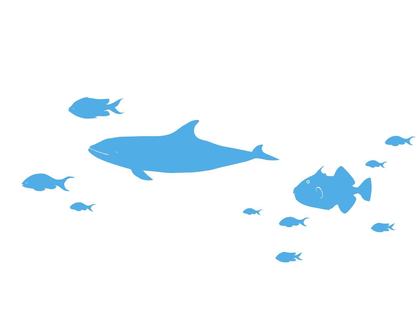 Tier Wandtattoos Wal mit Fischen