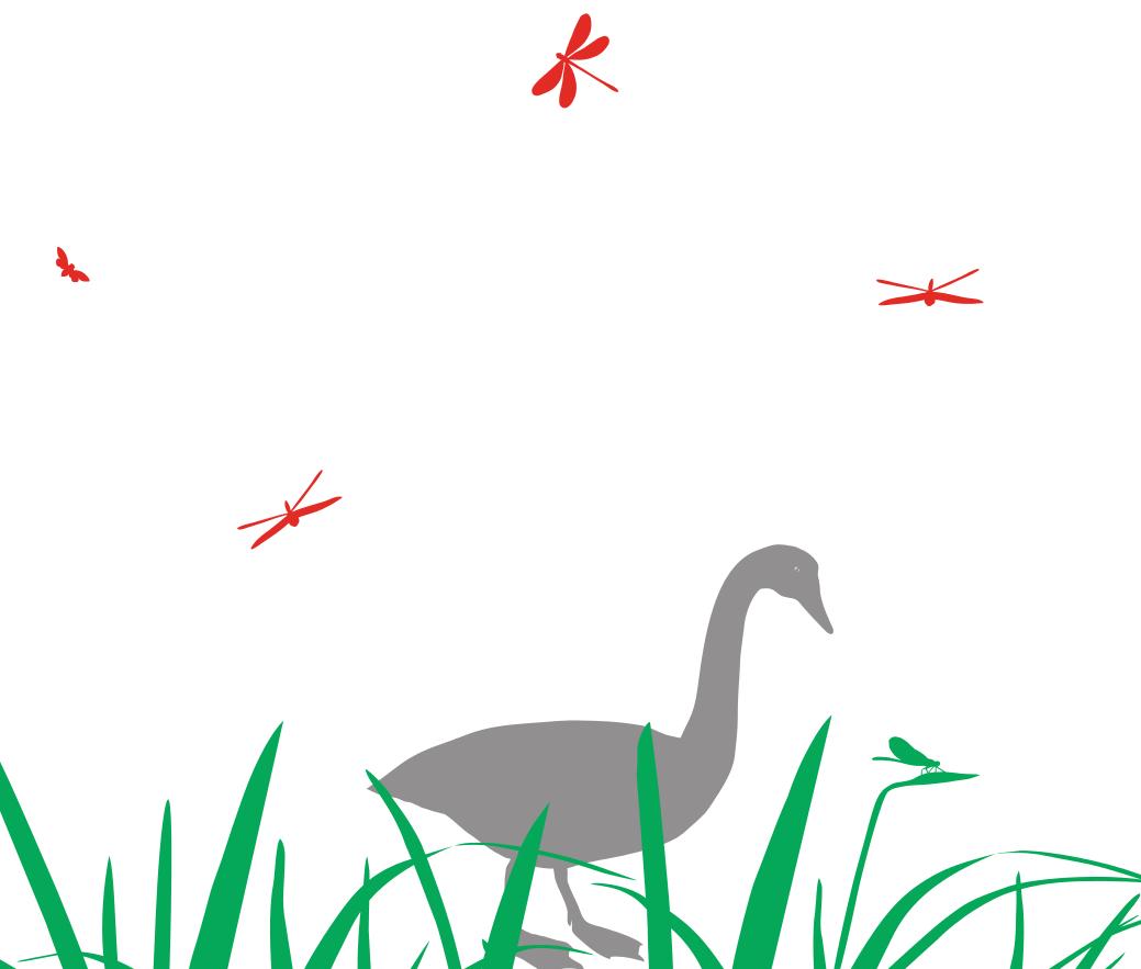 Wandtattoo fürs Kinderzimmer Gans mit Wiese und Libellen