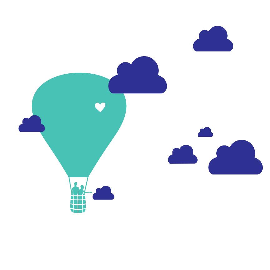 Wolken und Heißluftballon Wandtattoo