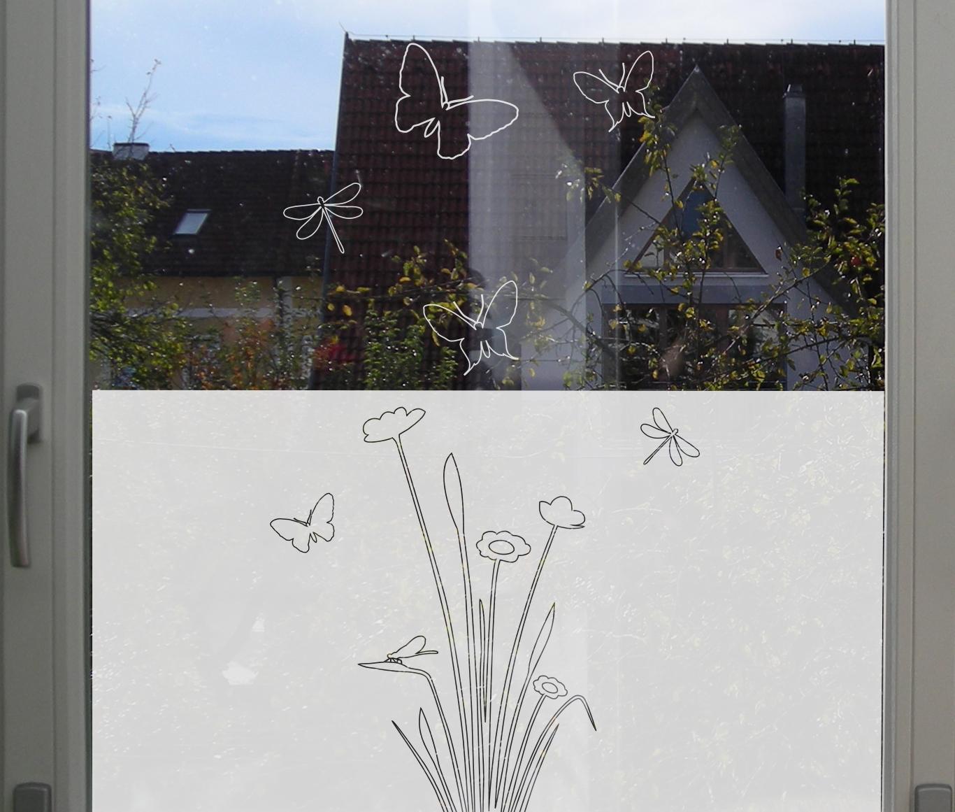 Florales Motiv Fensterfolie