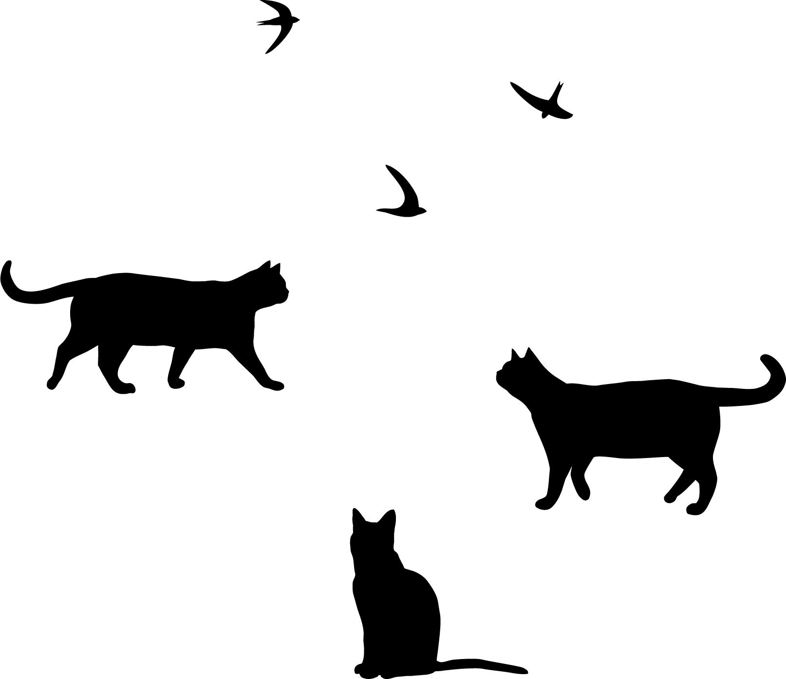 Katzen und Vögel Wandtattoo