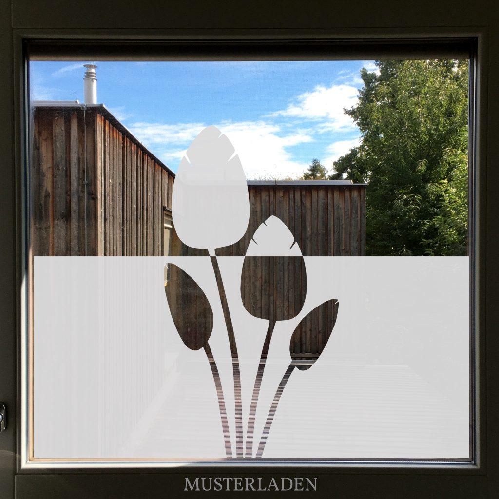 Dekorativer Sichtschutz aus Milchglasfolien Blätter - Musterladen